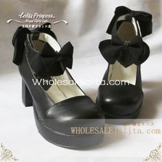 Heel Round Toe Spring Lolita Shoes | Know more >> http://www.wholesalelolita.com/gothic-black-sweet-bows-6cm-chunky-heel-round-toe-spring-lolita-shoes-p-14336.html