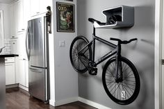 an easy bike storage option that keeps related gear--lock, helmet, pump--handy