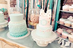 Tiffany and vintage rose sweet tables theme with bow cake