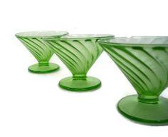 Vintage Depression Glass Diana Green by MerrilyVerilyVintage, $22.00