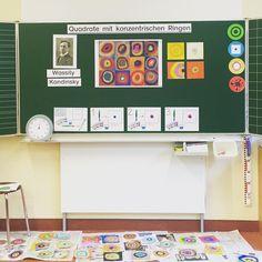 """Ich habe soeben den letzten Unterrichtsbesuch im Referendariat abgehakt! ✅ Jetzt kommt nur noch die Prüfung im Januar...endlich komme ich dem Ziel immer näher! In Kunst haben die Kinder (Klasse 1-3) in Anlehnung an Wassily Kandinskys Werk """"Quadrate mit konzentrischen Ringen"""" farbige Kreisbilder mit Wasserfarben gemalt.⭕️ Sie sollten versuchen die Farben zum Leuchten zu bringen (Hell-Dunkel-Kontrast)! Hat wirklich super geklappt und ich bin so stolz auf die kleinen Mäuse! ..."""