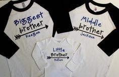 Big Brother Shirt Middle Brother Shirt Little Brother Big Sibling Shirts, Sister Shirts, Baby Shirts, Raglan Shirts, Boy Onesie, Baby Bodysuit, Onesies, Big Brother Little Brother, Diy Shirt