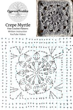 Click for crochet motif chart, written and video instructions / Yarn: Scheepjes Softfun / Hook: 4.5mm / CypressTextiles.net / Free Crochet Pattern Crochet Squares, Crochet Quilt, Granny Square Crochet Pattern, Crochet Diagram, Crochet Chart, Crochet Granny, Crochet Motif, Crochet Designs, Double Crochet