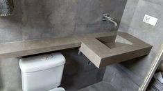 pia de porcelanato com cuba esculpida Cuba, Toilet, Sink, Bathroom, Home Decor, Bathroom Sinks, Bath Room, Homemade Home Decor, Vessel Sink
