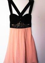 studniówka sylwester śliczna sukienka pudrowy róż czarna kryształki mgiełka gorsetowa