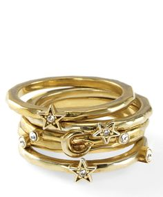 Stars + Moon Stacking Rings - Love these!