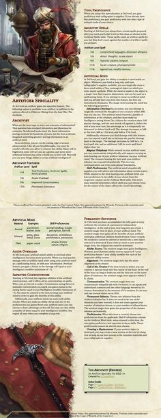 The Archivist - A Speciality for Artificers that want to overload their enemy's brains and create Sentient Magic Items. Revised from the UA version to fit the official Artificer. Dnd Dragons, Dungeons And Dragons Game, Dungeons And Dragons Homebrew, Dnd Classes, Dnd Races, Dnd 5e Homebrew, Writing Promps, Tabletop Rpg, Fantasy Character Design