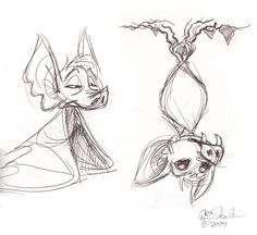 awwws cute sketches of bats by Eric Scales