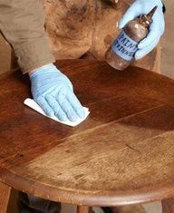 How to refinish furniture without stripping, also tips for fixing missing bits of veneer, white rings, dents, and paint splatters--very complete expert tutorials.