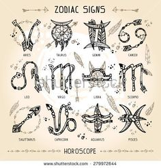 Set of hippie and bohemian style hand drawn zodiac signs. With decorative indian… Set of hippie and bohemian style hand drawn zodiac signs. With decorative indian and boho elements: arrows, feathers, indian ornament. Future Tattoos, New Tattoos, Body Art Tattoos, Small Tattoos, Boho Tattoos, Taurus Tattoos, Bohemian Tattoo Ideas, Native Tattoos, Aquarius Tattoo