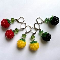 lightweight silicone berry earrings yellow red black Berries silikon lightweight berry earrings small earrings 18.00 USD #goriani
