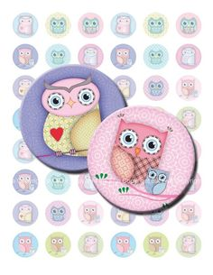 Cute Owls 1  inch bottle caps circles images and 1.313 inch Printable download digital collage sheet for cupcake toppers, buttons, magnets