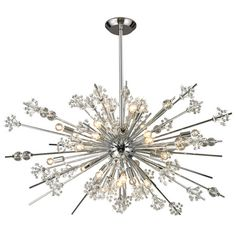"""This collection of chandeliers are lovingly detailed reproductions of the chandeliers that grace the entrance of the New York Metropolitan Opera. Those original """"sputnik"""" style fixtures were gifts from the Austrian government given in gratitude for the Marshall Plan restoration of their beloved Vienna State Opera. This version of that distinctive design features a central chrome orb that explodes in all directions with metal rods holding polished faceted crystal orbs, clusters of smaller…"""