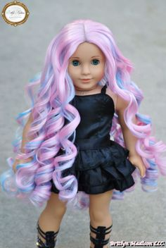 """Custom Doll Wig for 18 Inch American Girls Our new and improved custom wig line is in! This is our super long""""Cotton Candy Curls""""doll wig. This wig features a pretty pastel pink with shades of mint blue mixed in. Multi-tonal and multidimensional. Lots of spiraling curls! This wig is super silky and easy to handle...."""