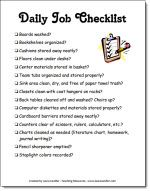 Classroom Freebies: Daily Job Checklist Freebie