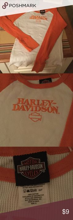 Harley Davidson thermal HD thermal top. Size small. Would fit an XS also. No stains or tears. Very gently used. Everything must go. I love offers through the offer button. Happy poshing! Harley Davidson Tops Tees - Long Sleeve