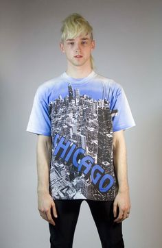 1992 CHICAGO tshirt black and white cityscape XL by GaudyGod, $40.00
