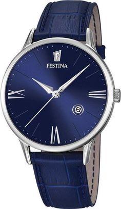 9ff40e42d78c Festina F16824 3 Men s Watch Classic Blue Dial Blue Leather Strap Relojes De  Marca