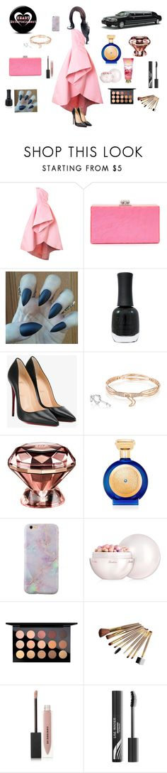 """""""KCA Red Carpet"""" by aurora-lynn-love ❤ liked on Polyvore featuring Monique Lhuillier, Edie Parker, Charlotte Russe, Christian Louboutin, Tacori, Boadicea the Victorious, Guerlain, MAC Cosmetics and Burberry"""