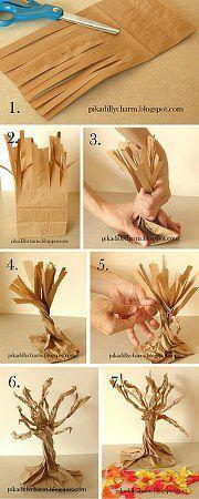Árvore feita de saco de papel.  Veja mais em http://www.comofazer.org