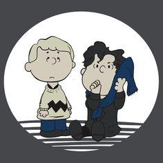 A Regular Blanket-Toting Sherlock Holmes by Brenda alias Snellby showing Martin Freeman's Doctor John Watson as Charlie Brown and Benedict Cumberbatch's BBC Sherlock Homes as Peanuts Linus