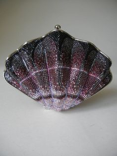 JUDITH LEIBER Minaudiere Novelty SEASHELL Crystal Clutch Evening Purse