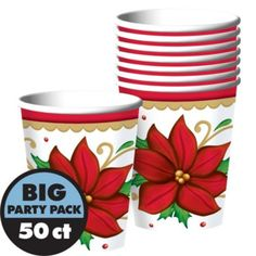 Winter Botanical Cups 50ct - Party City