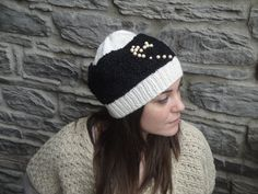 NEW PRICE Handknitted hat Two kinds of yarn white by Vasoknitwear