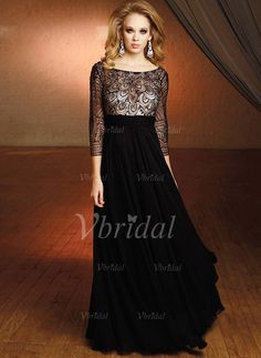 A-Line/Princess Scoop Neck Floor-Length Lace Beading Sequins Chiffon Tulle Zipper Up Sleeves 3/4 Sleeves No 2014 Black Spring Fall General Mother of the Bride Dress