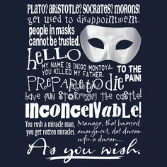 Quotable Lines From the Princess Bride - A Shirt for Princess Bride Fans - As You Wish by traciv  The Princess Bride