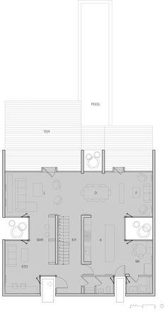 Ground floor plan for Casa La Canada by Ricardo Torrejon
