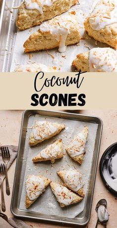 These coconut scones are made with coconut milk and coconut flakes, they are frosted with coconut glaze and sprinkled with toasted coconut. |#scones #coconutscones #sconesrecipe #coconutrecipe #coconutmilkrecipe #easysconerecipe #brunchideas #breakfastrecipeidea|