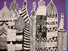 Architectural Drawing Patterns Teaching patterns and cityscape. I use this idea, but create a folded stand up version. Drawing Projects, Art Projects, Project Ideas, Collages, Elements Of Art Line, Architecture Drawing Art, Russian Architecture, Teaching Patterns, 4th Grade Art