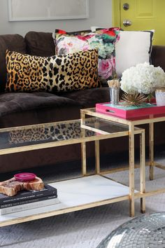 the HUNTED INTERIOR: A Little Layer of Gold... (Gold Leaf that is) gold leaf and glass table, hot pink tray