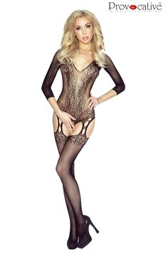 Provocative PR4926 Bodystocking Black  #Bodystockings Opaque Stockings, Fishnet Bodystocking, Stretchy Material, Rock, Body Shapes, Tights, Wonder Woman, Lingerie, Couture