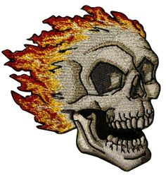 """Amazon.com: [Single Count] Custom and Unique (3"""" by 2 1/2"""" Inches) Biker Icon Fire Flames Wild Flaming Skull Iron On Embroidered Applique Patch {Grey, Yellow, and Red Colors}"""