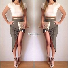 Womens Crop Top and Skirt 2 Piece Set Sexy Two-piece Clubwear Bodycon Dress SML #BrandNew #StretchBodycon #Cocktail