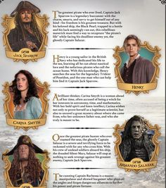 Pirates of the caribbean charactiers