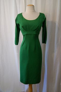 Gorgeous 1950's / 1960's kelly green silk linen blend Joan Holloway style curve hugging wiggle dress rockabilly bombshell - size Large. $165.00, via Etsy.