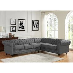 US Pride Furniture Sophia Modern Style Tufted Rolled Arm Left Facing Chaise Sectional Sofa (Grey Linen Fabric Sectional Sofa Set) (Bonded Leather) Sectional Sofa With Chaise, Living Room Sectional, Modern Sectional, Sofa Set, Living Room Furniture, Home Furniture, Living Room Decor, Living Area, Small Living