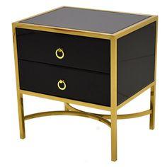 Luiz fiókos éjjeliszekrény fekete-arany 50x40x55 cm LW6072 éjjeliszekrény, fekete - arany színű borítással készült.