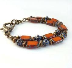 Orange Beaded Bracelet, Multistrand Bracelet, Cobalt Blue, Picasso Czech Glass, Bronze, Funky Bohemian Style Jewelry, Handmade. $48.00, via Etsy.