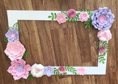 Excited to share this item from my shop: Floral Photo Booth Frame/wedding/birthday Party Selfie Frame - Paper Flowers - shower Party Decorations - Birthday - Floral Frame in pale rose, blush and lavender Picture Frames For Parties, Party Photo Frame, Photo Frame Prop, Flower Picture Frames, Flower Frame, Flower Photos, Flower Wall, Tangled Birthday Party, Birthday Party Decorations