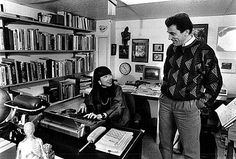 Amy Tan in her study at home, with her husband, Louis DeMattei.