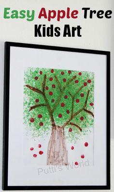 Easy Apple Tree - Kids Art ~ Putti's World -kids-activities