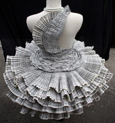 Dresses made from paper by Paons and Kyrpo using recycled paper.