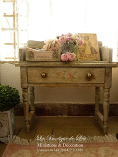 French distressed romantic gray vanity, 1'' SCALE, Furniture for a French miniature dollhouse in 1:12th scale