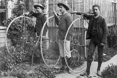 The penny-farthing, also called the 'ordinary', appeared on New Zealand roads in the 1870s, and outpaced the velocipede, the first bicycle, which had arrived in the late 1860s. These three men rode their penny-farthings from Christchurch to the West Coast in 1887.