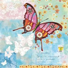 Fanciful Flight Blue Canvas Reproduction
