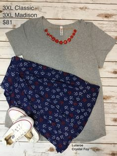 Lularoe outfit of the day: Madison skirt paired with a classic tee. Love this paired together! Add a pair of chuck Taylor's and a statement necklace and you have the ultimate spring look.  #lularoe #ootd #womensfashion #springoutfit #cuteoutfits #classictee #chucktaylors # madison